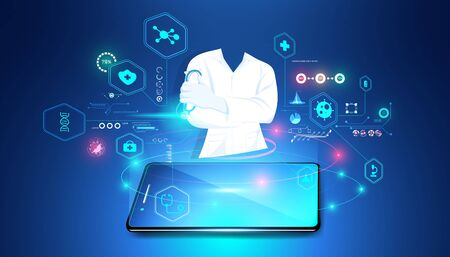 The hologram doctor shows from the phone Medical data analysis In visual form Modern future,Medicine that uses artificial intelligence ,Diagnosis by phone With the advice of a medical professional .