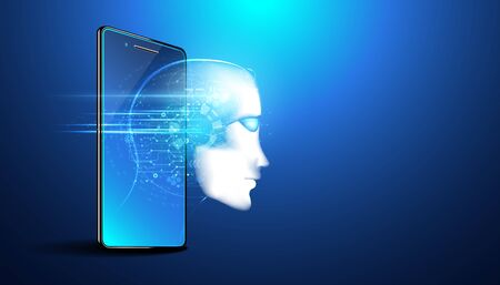 Abstract smart artificial intelligence digital futuristic technology face with smartphone concept ai humanoid head virtual neural network thinks,information,analysis,cybernetic mind,Big data Illustration