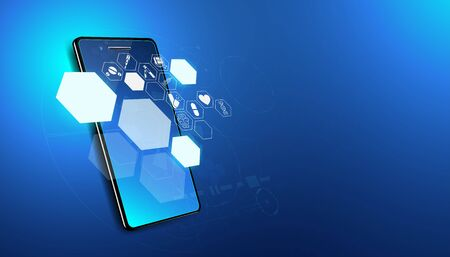 Abstract health medical science healthcare icon digital technology science on smartphone concept modern innovation,Treatment,medicine on hi tech future blue background.