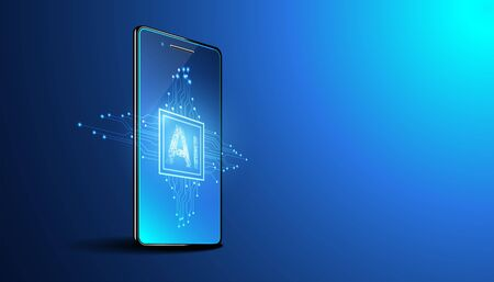 Abstract technology Ai computing and smartphone concept working data of Artificial intelligence and futuristic digital for future on dark blue background.