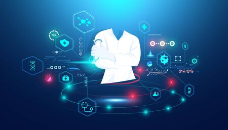 Abstract Doctor digital and hologram interface concept Medical data analysis In visual form Modern future,Medicine that uses artificial intelligence in processing And treatment of future.