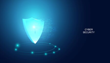 Abstract technology cyber security privacy protect information network concept padlock protection digital network internet link on hi tech blue future background