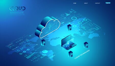 Abstract cloud technology with notebook and interface concept Connection by collecting data in the cloud With large data storage systems around the world.