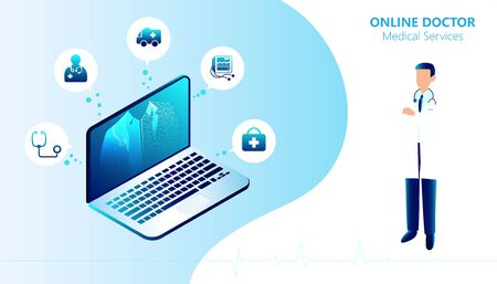 Abstract Online Doctor & Medical Services concept Using the internet or online to consult a doctor Or requesting medical advice Via various devices such as mobile phones, tablets, computers.
