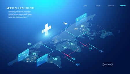 Abstract Online health & Medical Services concept Linking health information around the world To research and find ways to develop health innovations In the treatment of diseases, drugs, vaccines. Illustration