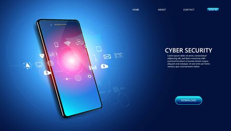 Abstract cyber security with phone and icons concept Cyber protection application By program developers to protect data on various electronic devices