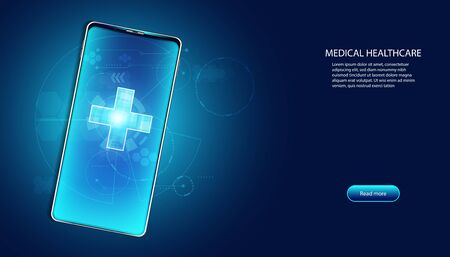 Abstract health medical science healthcare digital technology science on smartphone health plus concept modern innovation,Treatment,medicine on hi tech future blue background.