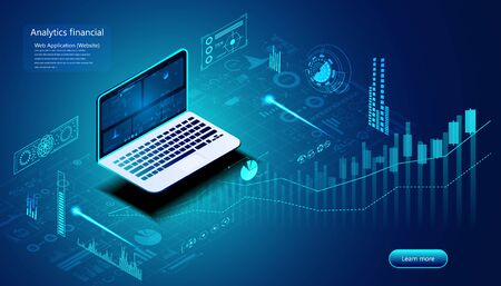 Abstract analysis financial concept Stock analysis for investment, finance, fund business using program analysis from devices In investment decisions.