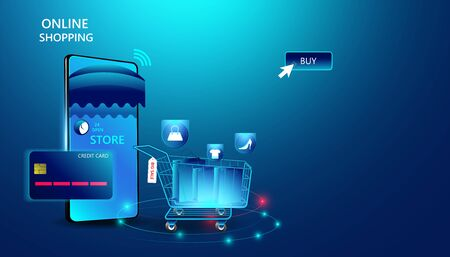 Abstract online shopping concept Online shopping Via equipment Click through the website. And pay by credit card Modern innovation In the spending of people on the internet Illustration