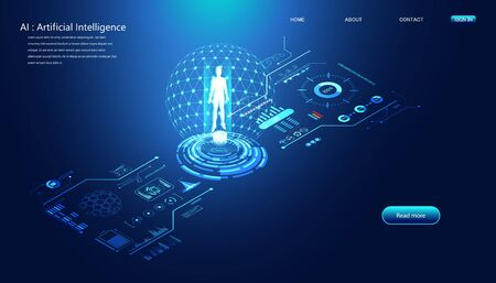 Abstract technology Ai interface computing concept working data of Artificial intelligence and futuristic digital for future on dark blue background. 版權商用圖片 - 148395429