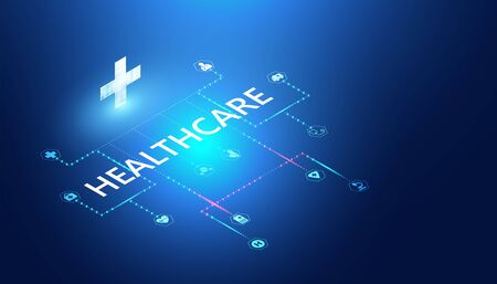 Abstract healthcare & Medical concept Linking health information. 向量圖像