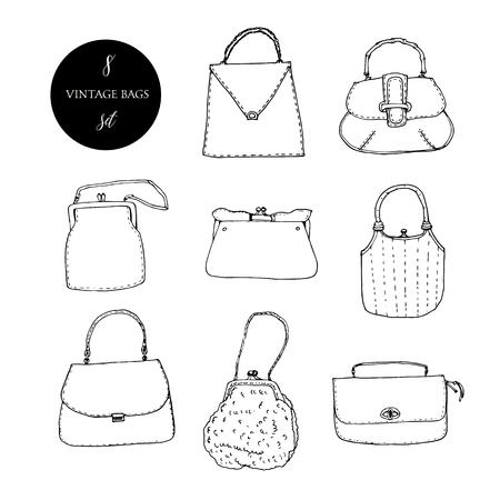 Vintage bags, clutches and purses ink set. Hand drawn vector illustration. Elegant and trendy