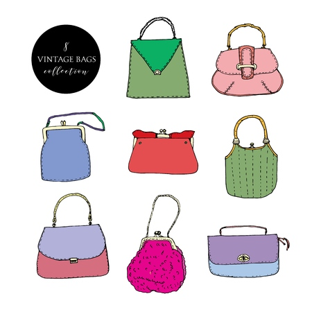Colorful vintage bags, clutches and purses collection. Hand drawn vector illustration. Elegant and trendy