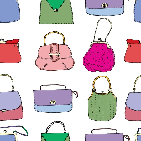 Colorful vintage bags, clutches and purses seamless pattern. Hand drawn vector illustration. Elegant and trendy