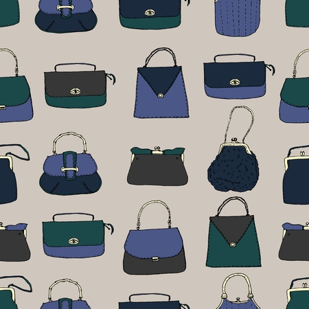 Vintage bags, clutches and purses seamless pattern. Hand drawn vector illustration. Elegant and trendy Ilustrace