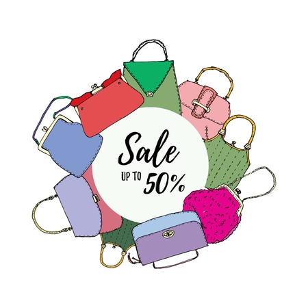 Vintage bags, clutches and purses round banner. Hand drawn vector illustration. Elegant and trendy. Sale up to 50 percent
