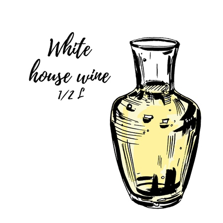 Glass carafe filled with white wine, isolted on white. Vector hand drawn illustration