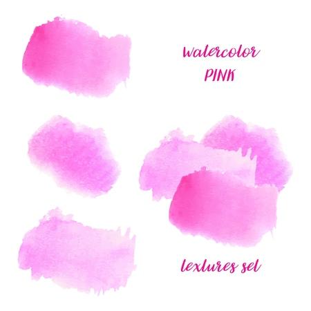 Taches d'aquarelle rose clair et rose foncé peintes à la main. Textures vectorielles Vecteurs