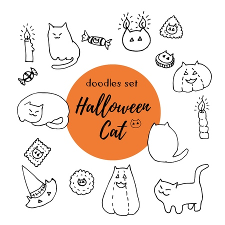 Halloween cat vector set. Hand drawn ink doodles. Kitties, treats, candles, hats and pumpkins with cat ears