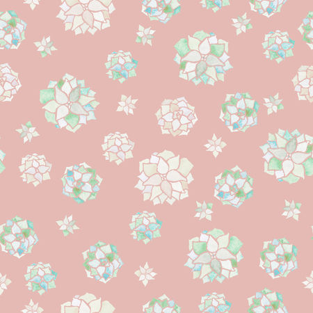 echeveria modern watercolor seamless pattern on powder pastel pink background Stock Photo