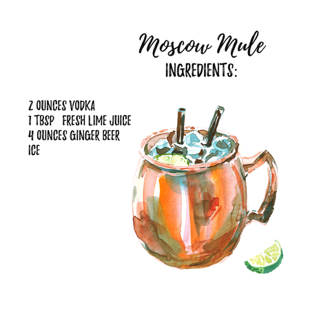 Vodka based Moscow Mule cocktail with ingridients list. Watercolor illustration of the long drink in a copper mug with lime. Hand drawn, isolated on white background 스톡 콘텐츠