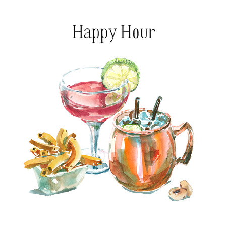 Happy hour hand drawn watercolor illustration with two cocktails and appetizers. Fresh cocktails garnished with lime, top front view. Cosmopolitan and moscow mule in a copper mug.