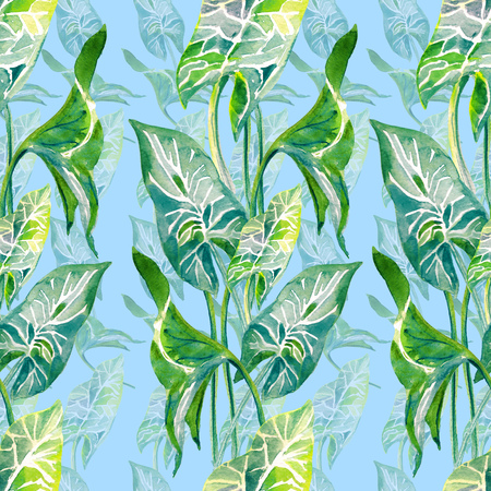 Tropical leaves seamless vertical pattern. Hand drawn watercolo illustration isolated on blue background.