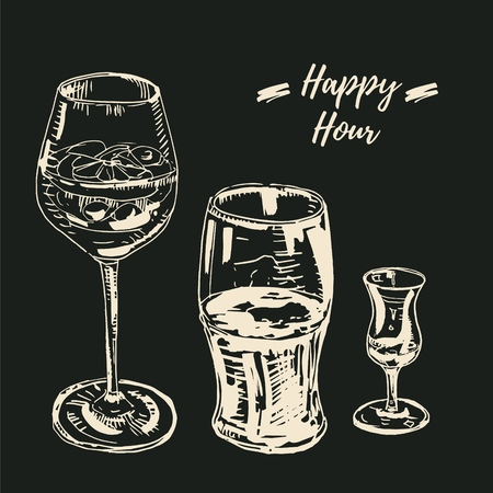 Happy hour drinks set. Vector illustration, chalk on blackboard style. Wine glass with a cocktail, beer glass, grappa glass Vettoriali