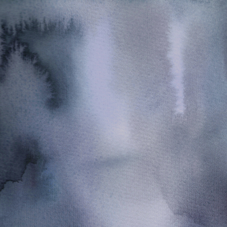 Monochrome blue gray ink and watercolor texture. Hand painted on watercolor paper
