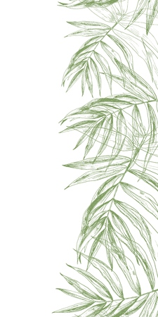 Vertical summer background with a palm leaves border made of green tropical exotic foliage on white and a space for text.