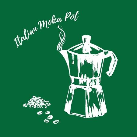 Italian moka coffee gazer pot white chalk on green chalkboard vector illustration. Hand drawn. Coffee-maker ground coffee and coffee beans on blackboard.