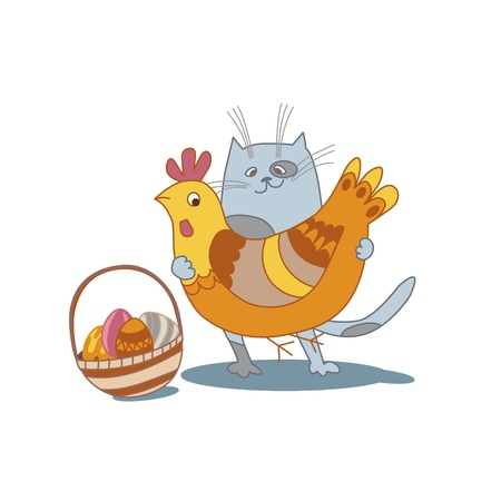 Funny cat holding the hen, wicker basket full of colored eggs. For postcards, kids clothes, wall decoration