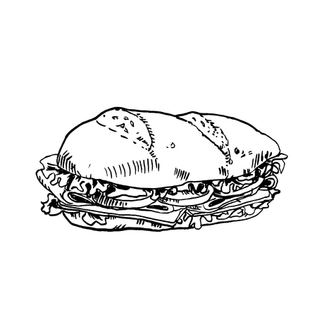 Hand drawn in ink sketch sub sandwich. Vector black and white vintage illustration. Isolated object on white background. Menu design Ilustração