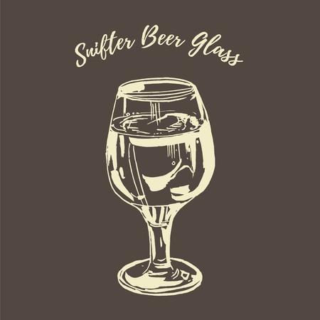 Full beer stemmed snifter glass of pale lager of pils isolated on blackboard background. White chalk vector hand drawn illustration