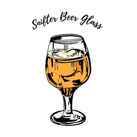 Full beer stemmed snifter glass of pale lager of pils isolated on white background. Vector hand drawn ink illustration
