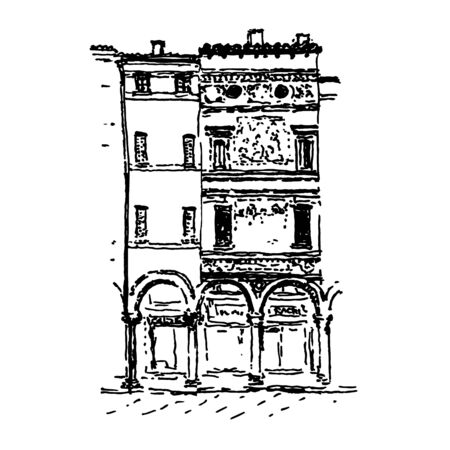 Hand-drawn in ink vector illustration of Italian house facades. Black line drawing isolated on white background