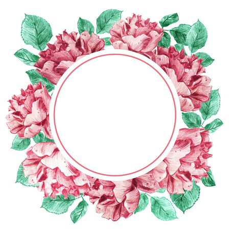 Decorative round frame of pink garden roses with green leaves. Light floral bouquet for wedding invitations and romantic cards. Hand drawn elegant illustration.