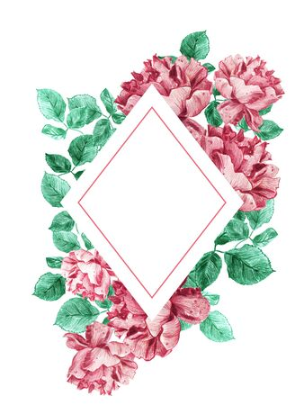 Decorative rhombic frame of pink English roses with green leaves. Fresh Summer or Spring bouquet for wedding invitations and romantic cards. Hand drawn pencil and watercolor illustration.