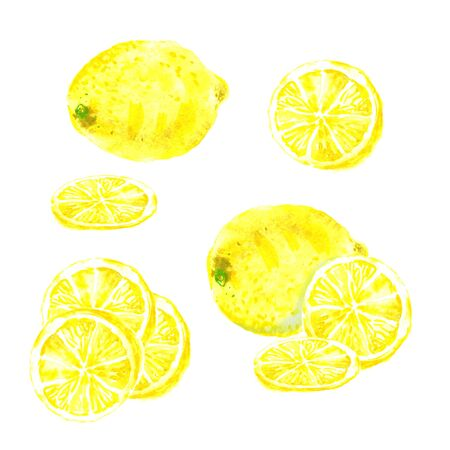 Whole and slice cut lemon set, fresh bright yellow watercolor 스톡 콘텐츠