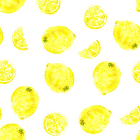 Watercolor seamless citrus pattern on white background. Hand-drawn yellow lemons, whole and half moon slices 스톡 콘텐츠