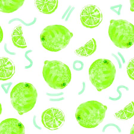Hand drawn sketch style ripe green lime seamless pattern with abstract neon elements. Minimal color pattern on white background. Whole limes, rounds and slices