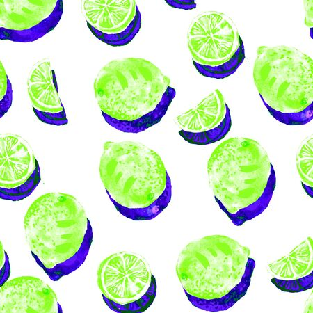 Hand drawn sketch style ripe green limes with bright blue shadows seamless pattern. Minimal sunny pattern on white background. Whole limes, rounds and slices