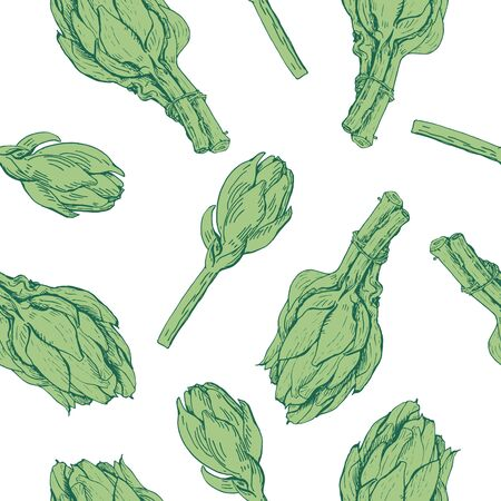 Green artichokes hand drawn vector seamless pattern on white. Fresh vegetable objects. Detailed vegetarian food drawing. Farm market product Illusztráció