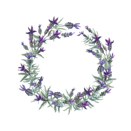 Watercolor french lavender round wreath. Cute hand drawn floral wedding invitation or greeting card template.