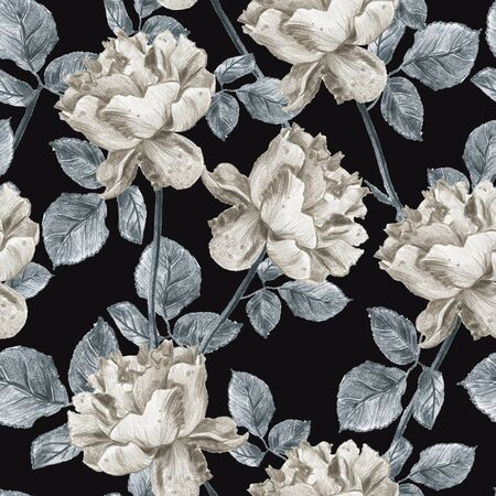 Vintage floral seamless pattern with hand drawn silver garden roses on black. Elegant grey and sepia tones design with leaves and flowers on white background