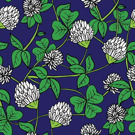 Hand drawn ink and color seamless vector floral pattern. Delicate white clover flowers with green leaves on dark blue background