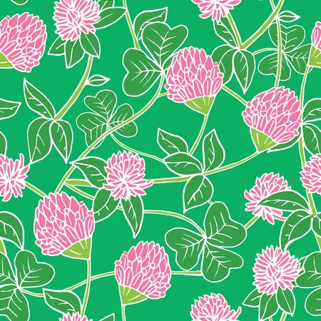 Hand drawn ink and color seamless vector floral pattern. Bright pink clover flowers with green leaves on dark blue background
