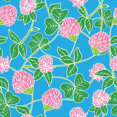 Hand drawn white lines and color seamless vector floral pattern. Bright pink clover flowers with green leaves on sky blue background