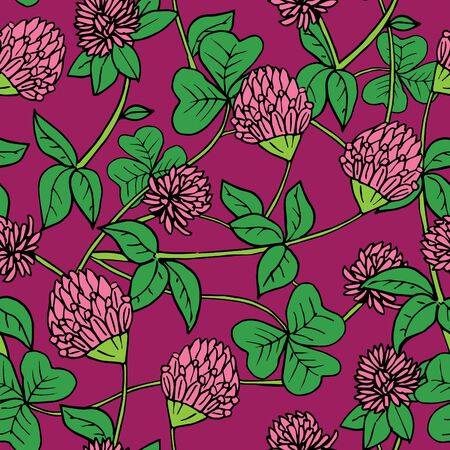 Hand drawn ink and color seamless vector floral pattern. Bright pink clover flowers with green leaves on purple background