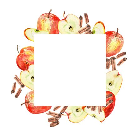 White square frame label on watercolor red apple and cinnamon illustration background isolated on white. Design for tea, food, cosmetics, candy, bakery with apple filling, health care products. 스톡 콘텐츠